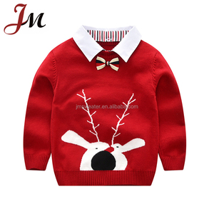 Latest children fake shirts collar two-pieces sweater design christmas reindeer sweater