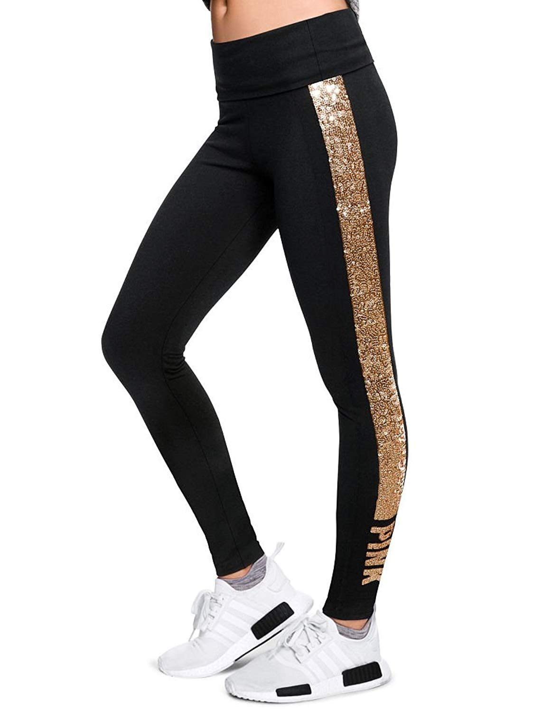 f95ca6b848c61 Victoria's secret pink Gold Bling Foldover Yoga Legging New VS Pink Pure Black  Bling NWT (