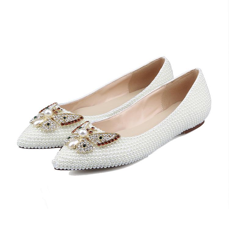 wedding shoe flat diamond ladies shoes wholesale casual 2018 sparkling china flat pearl whole wedding ZdqUTfnw