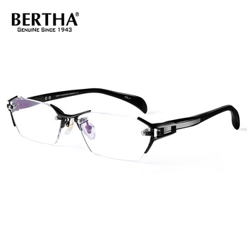 Bertha Clear Frame Glasses Rimless Frame Titanium Business Glasses Frame Optical Eyeglasses Prescription Eyewear