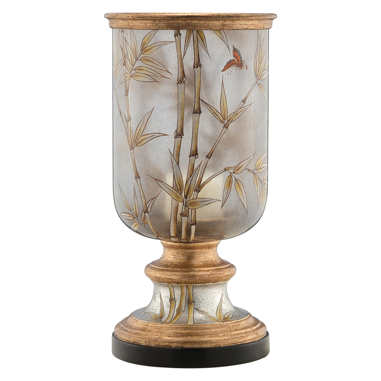 Wholesale home decoration use resin and hand painted glass candleholder