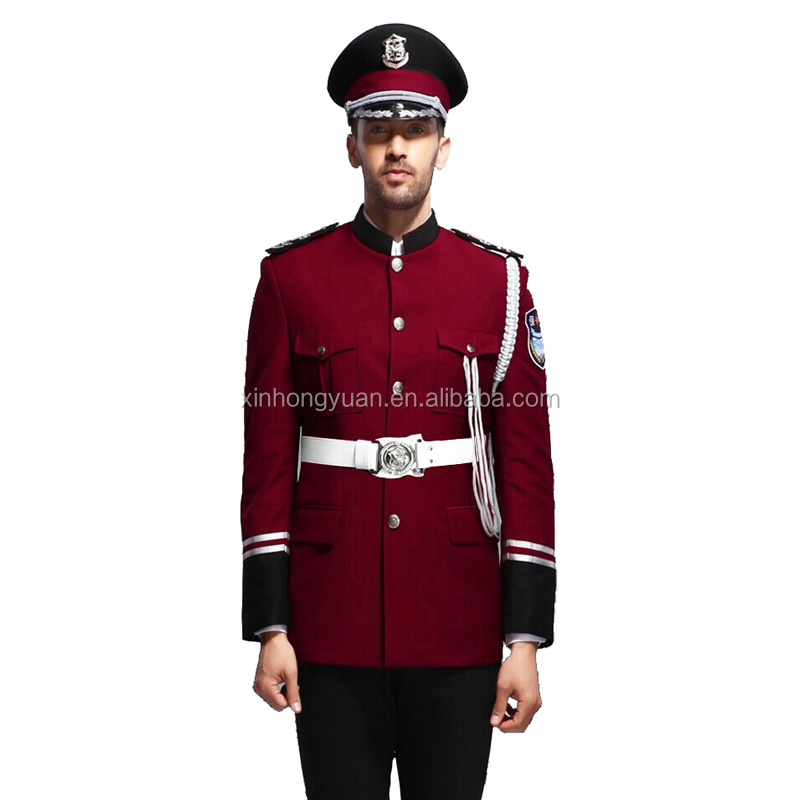 Bordeaux Red Design Security Guard Uniform,Marching Band Uniform ...