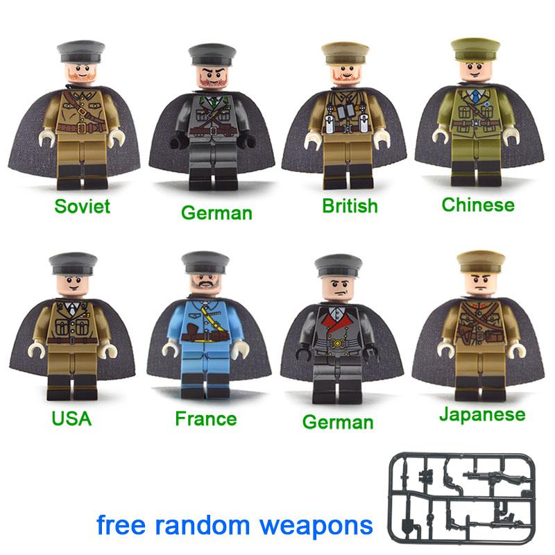 Kitoz 24 шт WW2 армейский военно-морской флот солдат с изображением оружия набор военных строительных блоков Игрушка совместима с lego(Китай)