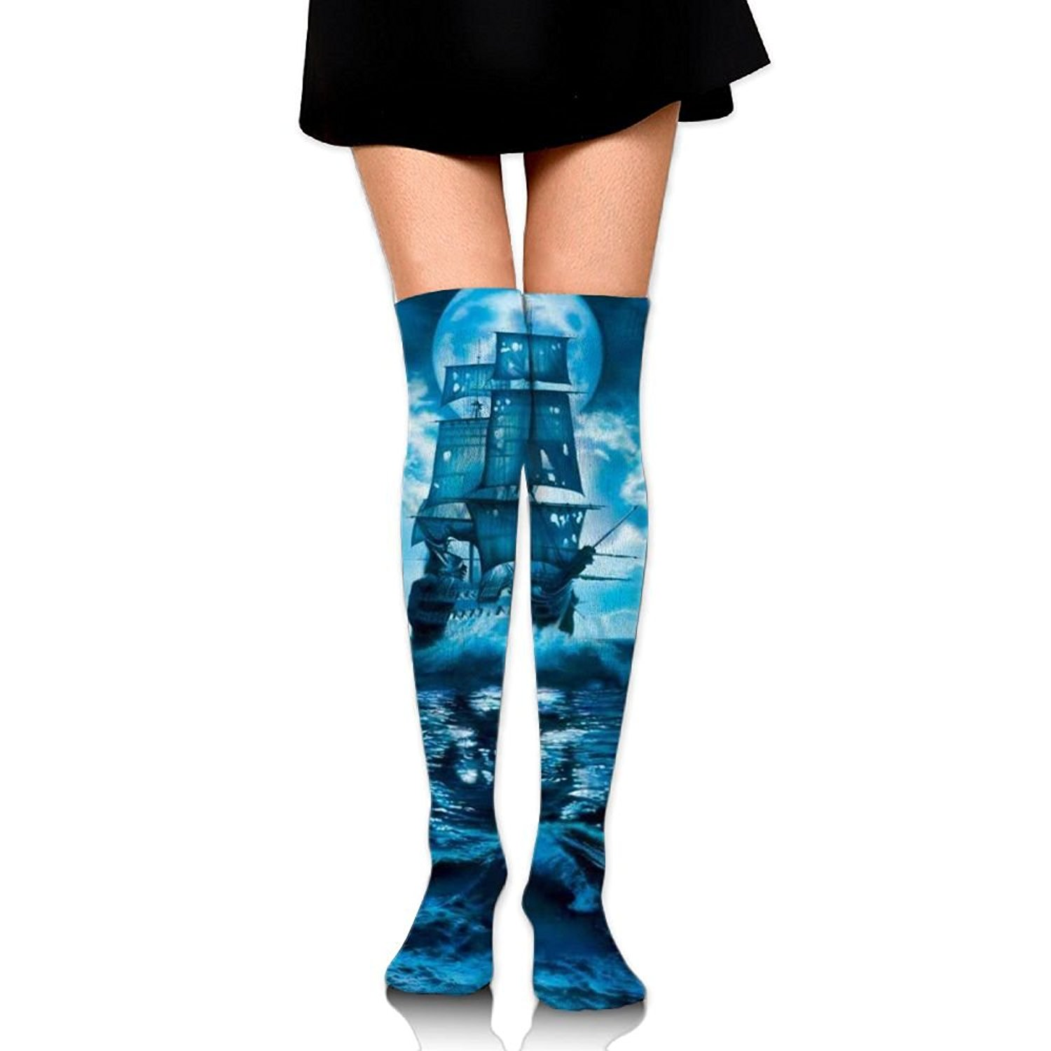 Zaqxsw Ghost Ship Women Unique Thigh High Socks Thermal Socks For Ladies