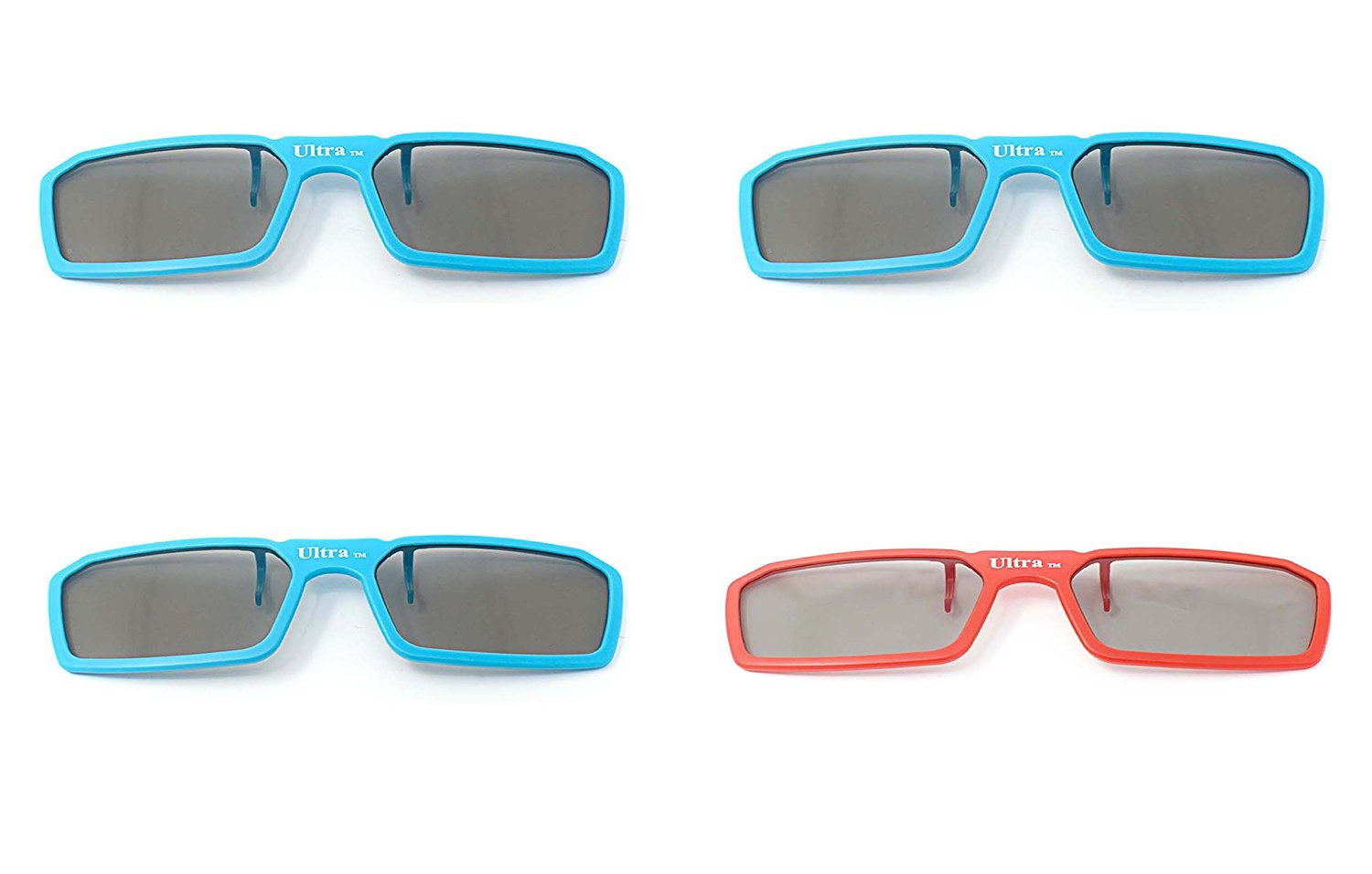 UltraByEasyPeasyStore 4 Pairs of Passive Universal 3D Standard Clip on Glasses for Prescription Eyewear for use W/ all Passive 3d Tvs Cinema & Projectors (4 x Clip on 3 Blue 1 Red)