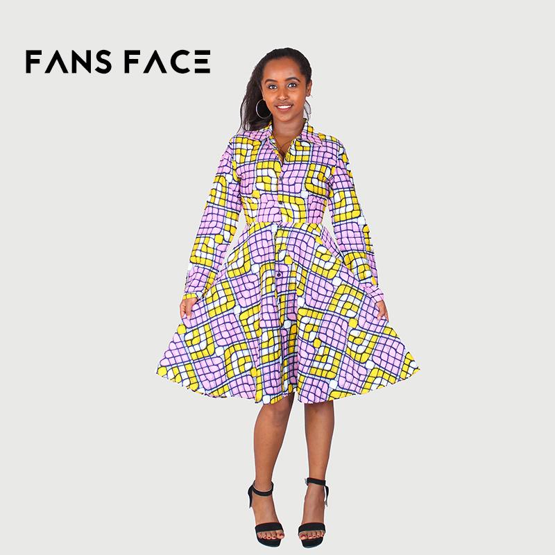 27dde5dc2d0 FANS VISAGE 2017 africain robe pour femmes africain tissu africain cire  tissu imprimé v cou robe courte 100% coton dans Afrique Vêtements de  Nouveauté ...