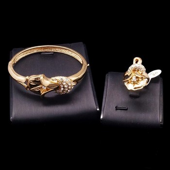 Zircon Moti Jewelry Bracelet And Ring Sets Gold Plated Bangle Rings Set Free Sample Fashionable