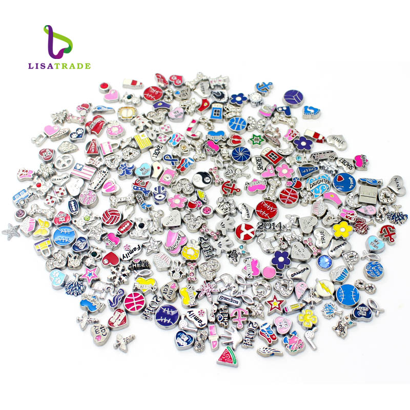 100pcs/lot Wholesale Mixed Styles Alloy Floating Locket Custom <strong>Charms</strong> For Glass Memory Lockets