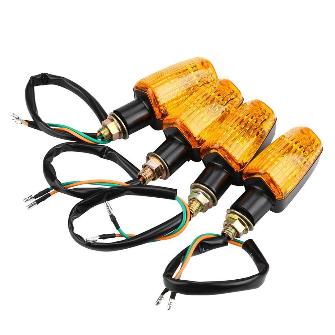 Motorbike Direction Indicator Lamp,ELOGOOG 4 X Universal Motorcycle Motorbike Turn Signal Indicators Turning Lights Orange