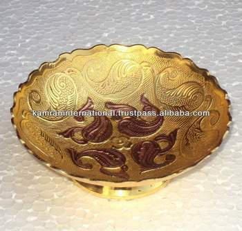 Gold Copper Plated Decorative Dry Fruit Bowl, Decorative Fruit Bowl, Eid  Gift, Deepawali