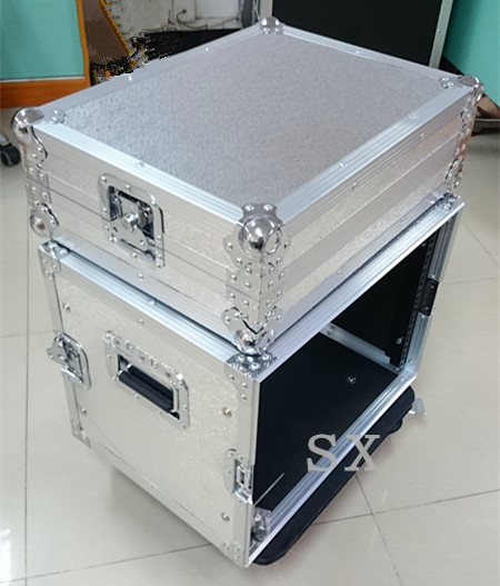 8U Removable lid audio rackmount case with aluminium plated plywood