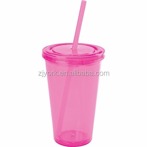 16oz double wall food grade plastic tumbler pink color easy drinking mug/cup with straw