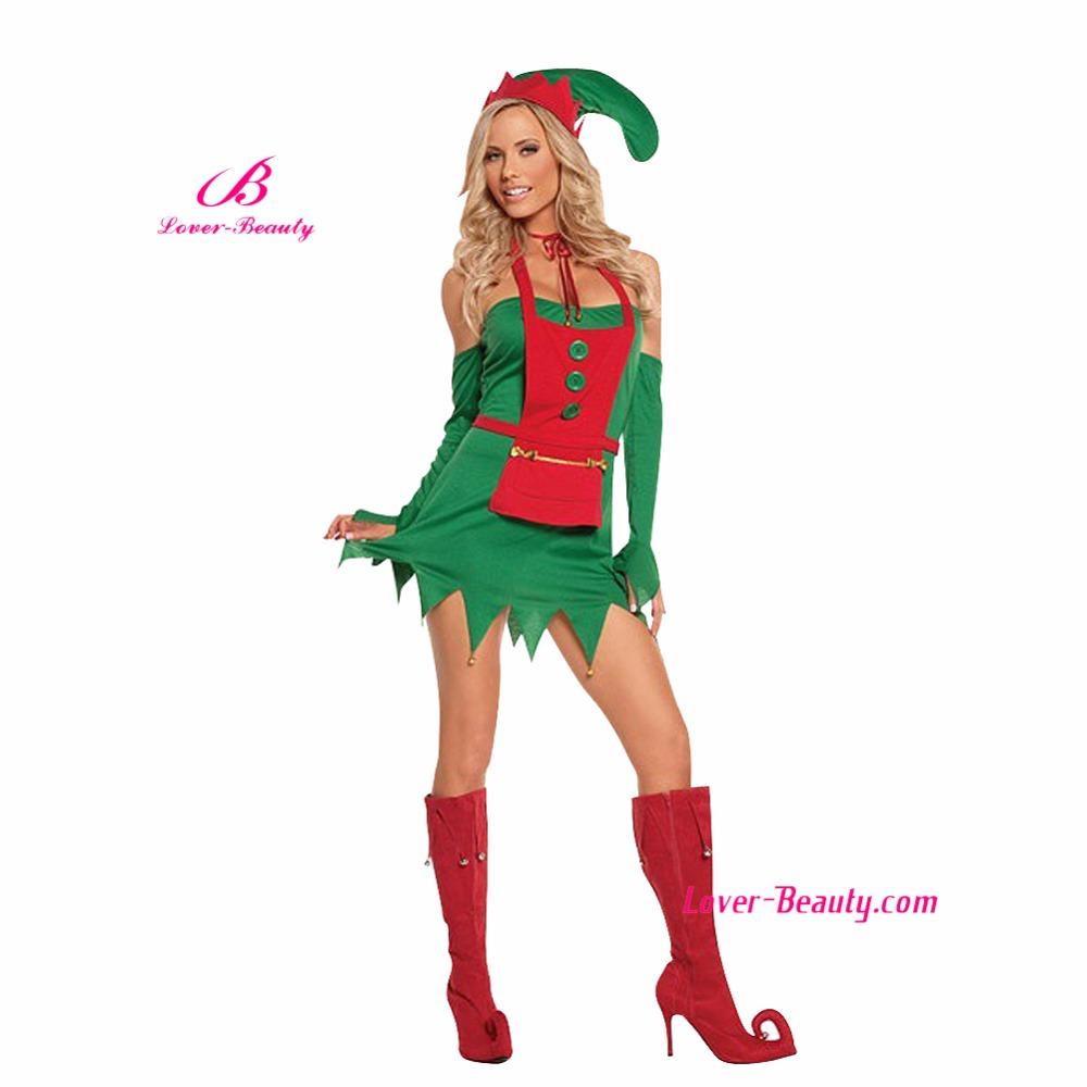 2016 nuevo traje de elfo ayudante ciudad del partido verde rbol de navidad disfraces