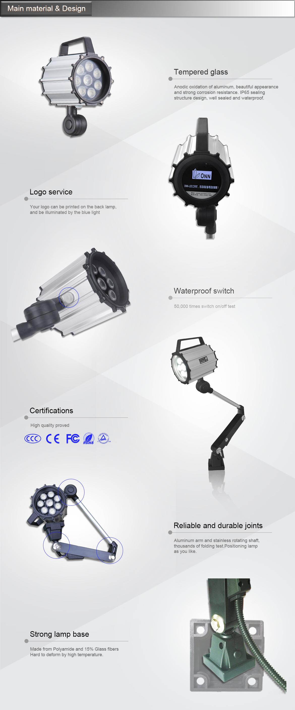 CNC Machine Lamp/LED Machine Lighting CNC/LED Flexible Arm Light M2 IP65 CE,FCC 7W/9.5W 24V/220V