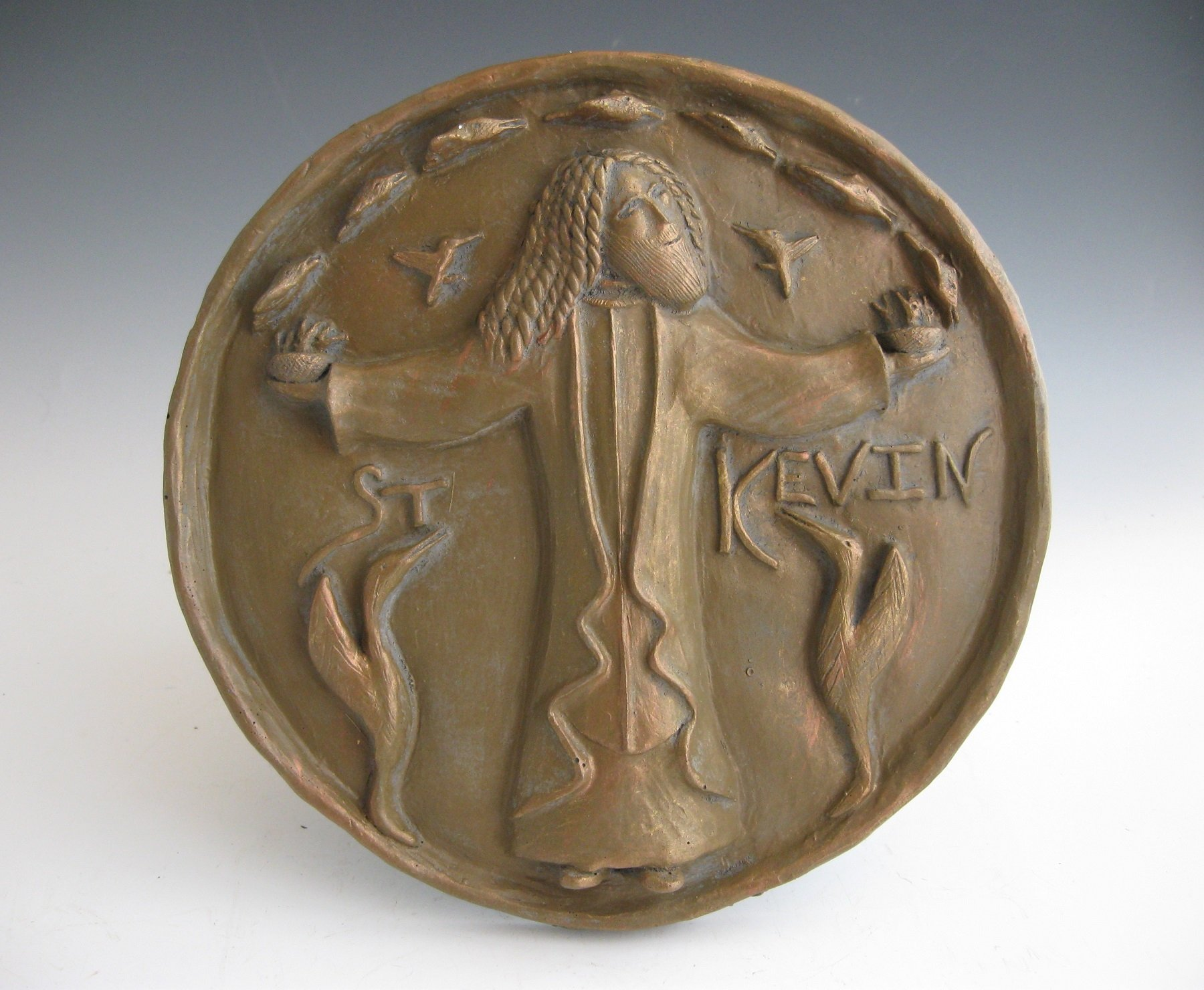 St. Kevin: Patron of Birds, Bird-Lovers, Dublin; Handmade Plaque