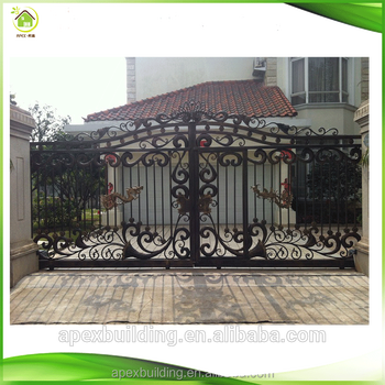 Wrought iron front main gate designs for home steel iron for Front gate designs for homes