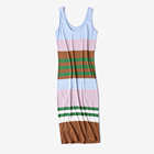 Ladies summer sleeveless striped circulation long dress with rayon