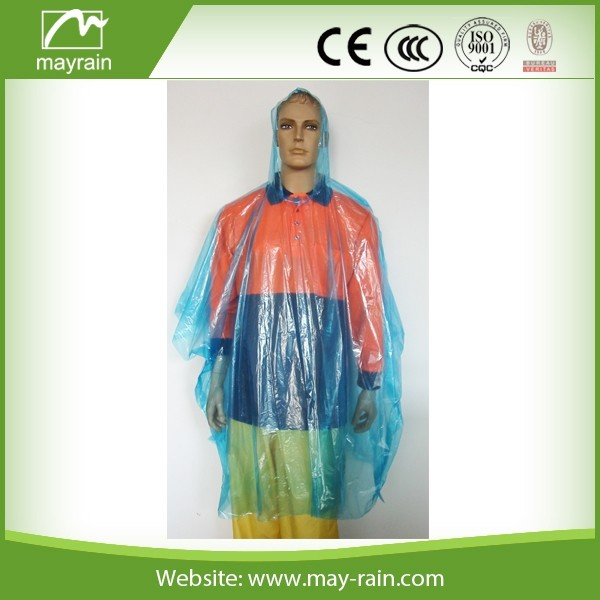 Eco - Friendly disposable PE poncho raincoat with food grade