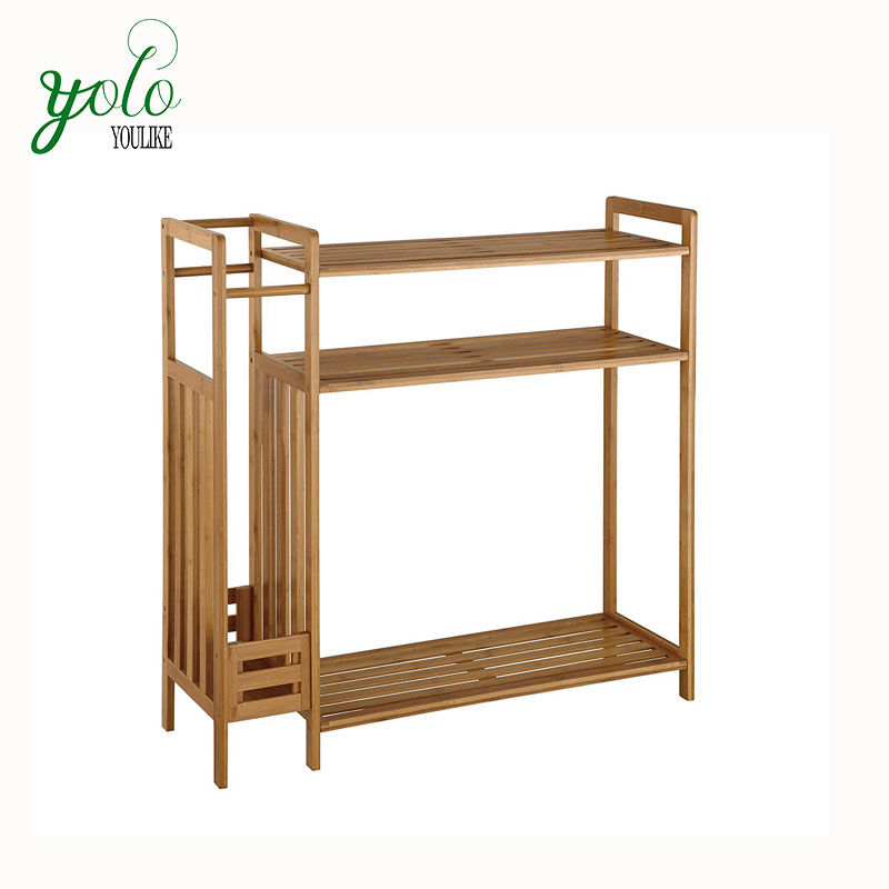 Home Natural Bamboo 4-Tier Shelf Storage Organizer, Shoe Rack with Umbrella Stand