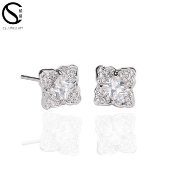 14ab9b80d Cs 925 Sterling Silver Square Flower Cubic Zirconia Stud Earrings ...