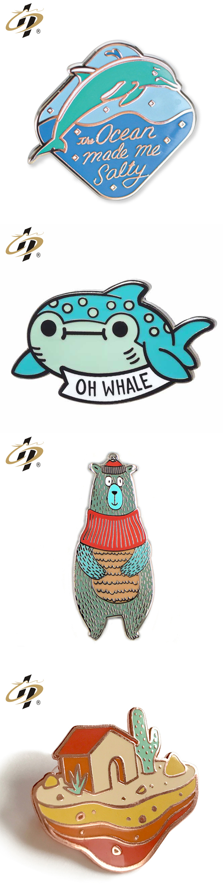 New design decorative cheap custom hard enamel pins for wholesale