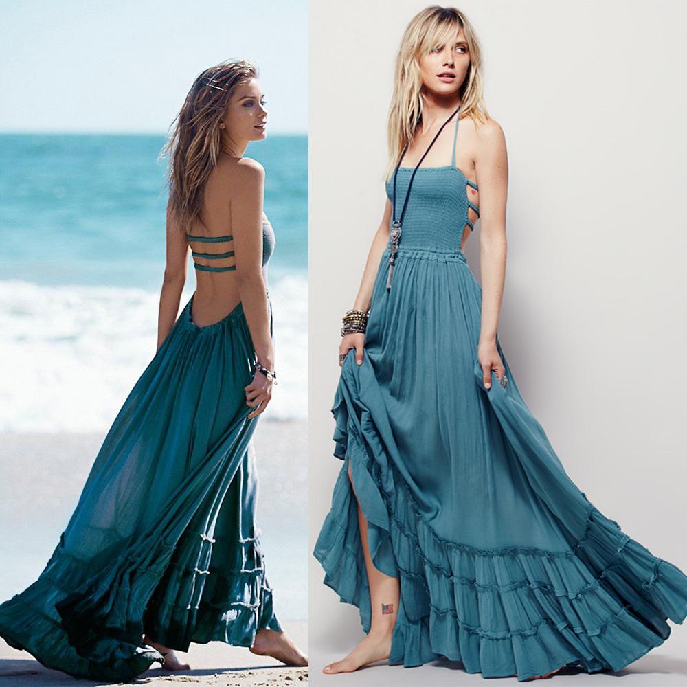 bfcae59285 Beach dress sexy dresses boho bohemian people dress summer long blackless  cotton women party hippie chic vestidos mujer 2016