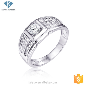 Fashion Square Cz Stone Rings Sterling Silver Jewelry Men Wedding Bands