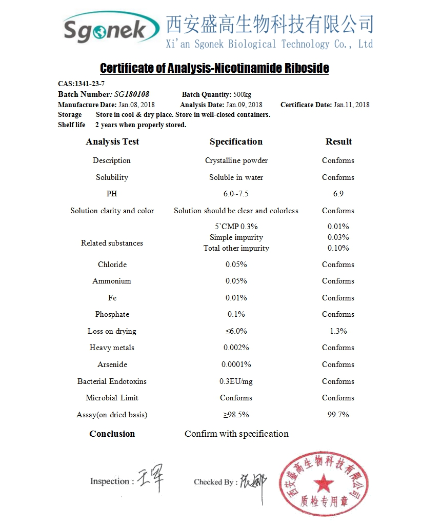 NMN CAS 1094-61-7 99% nicotinamide mononucleotide with high quality
