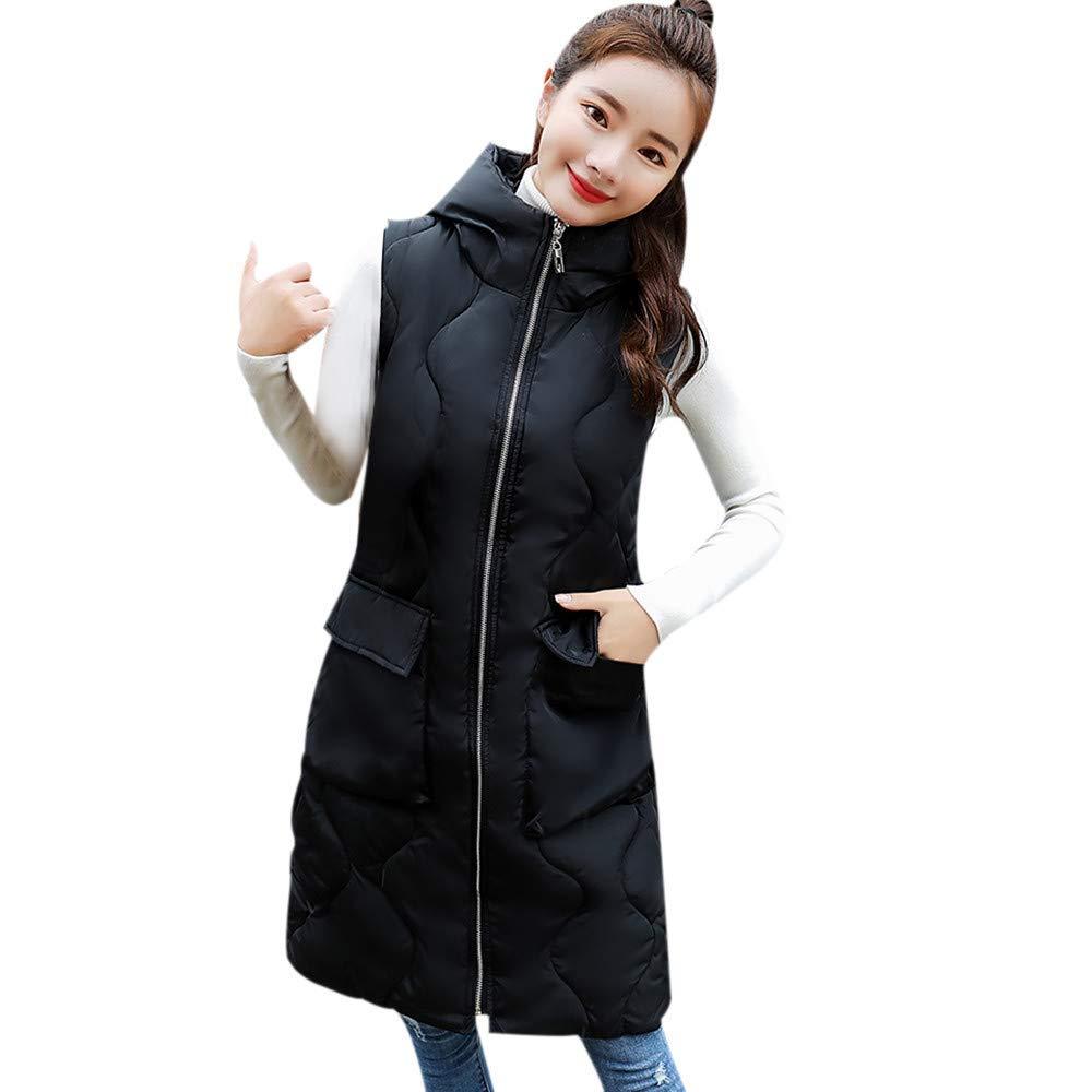Dreamyth-Winter Women Sleeveless Thick Outerwear Long Slim Cotton-Padded Jackets Hooded Coats