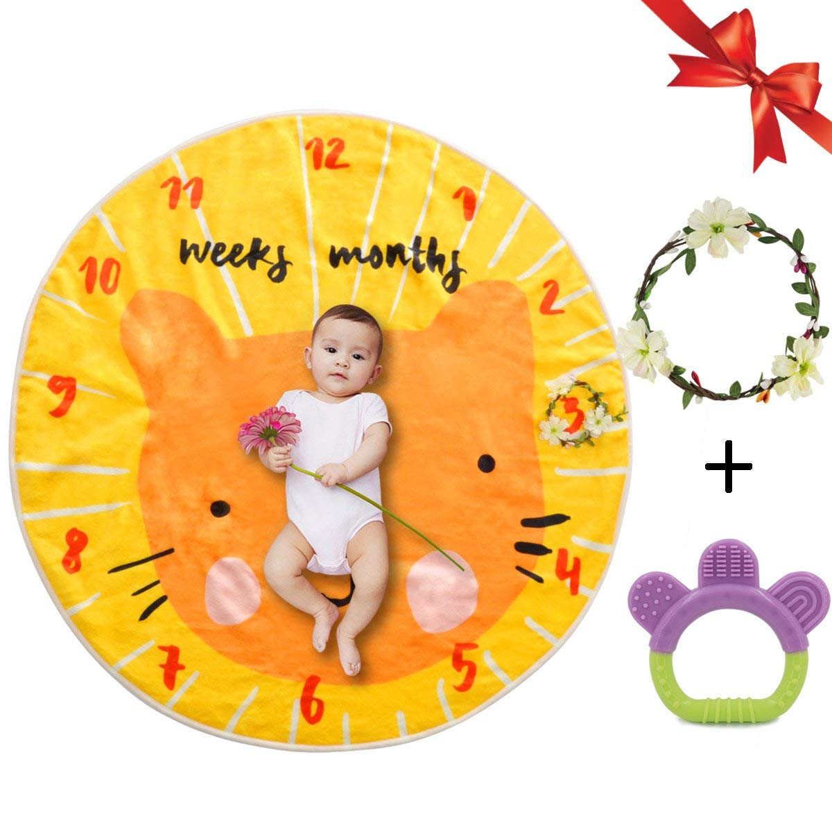 Monthly Baby Milestone Blanket Photo Props set, Shoots Backdrop for Newborn Boy or Girl Photography Weekly, Orange, Wreath Frame Included
