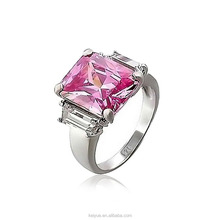 Fashion single big pink square stone ring design finger rings for women