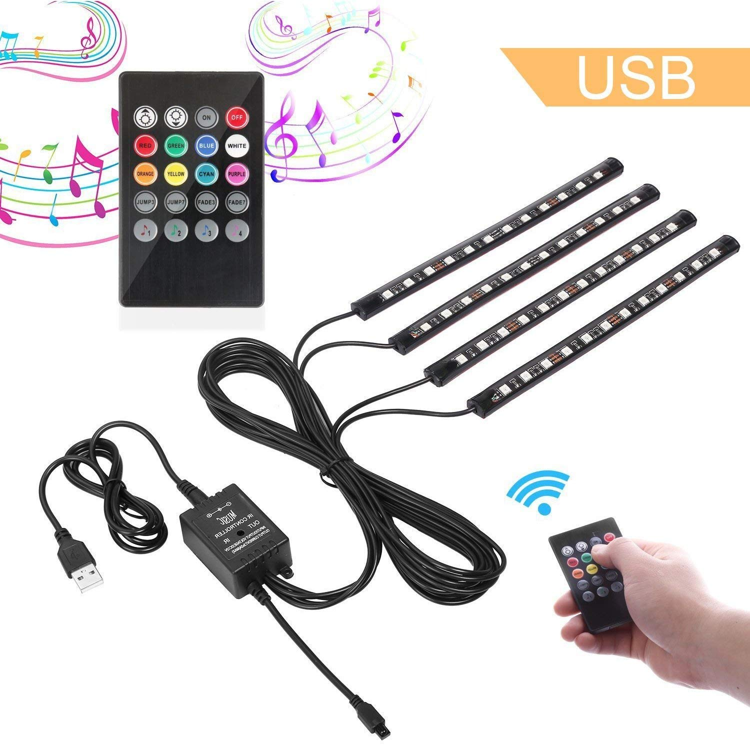 Car LED Strip Lights,4PCS 48leds USB Powered Atmosphere Lights/Interior Lights for Car with Music Sound Active, Remote Included