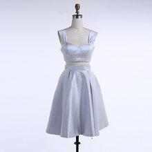 Милое сатиновое платье для выпускного вечера длиной до колена серебристого и серого цвета, короткое выпускное платье из двух предметов, реа...(Китай)
