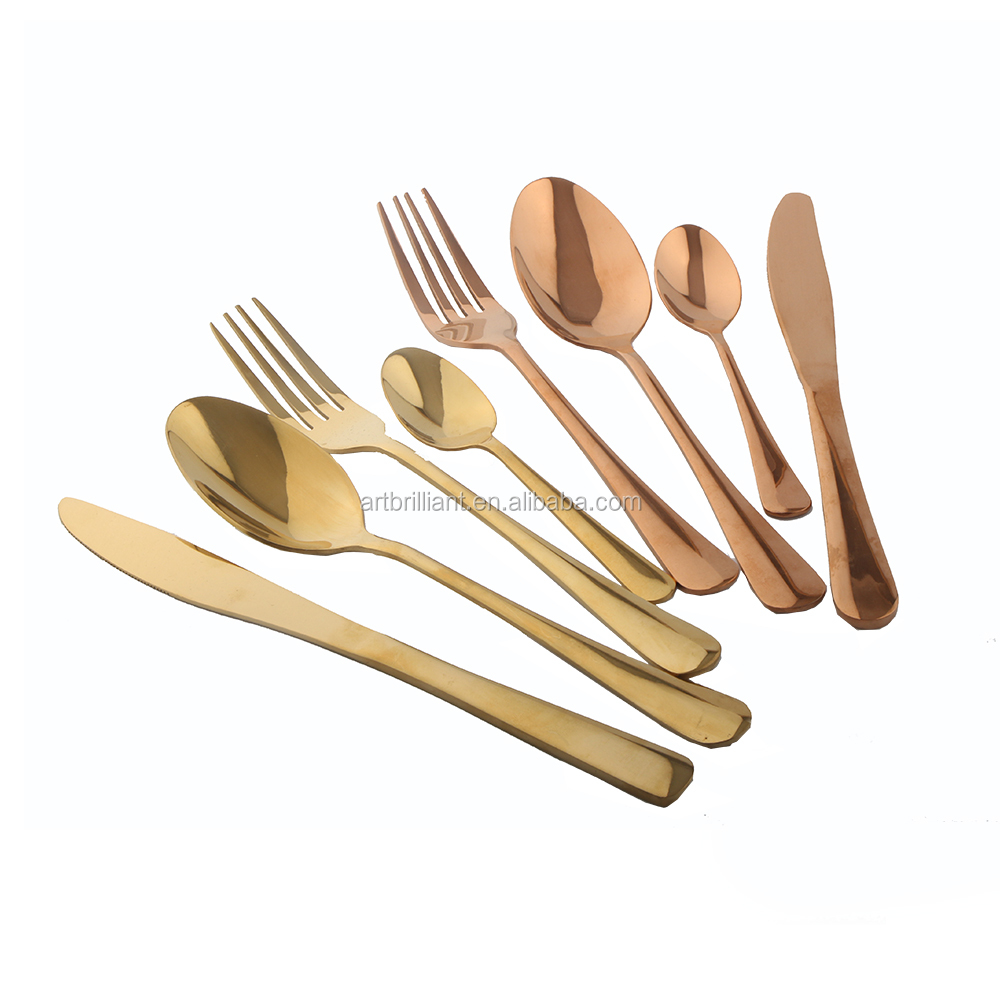 Brass copper rose gold plated flatware set 24pc for wedding