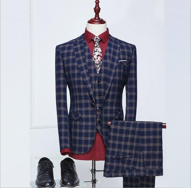 WB018 Latest Style Mens 3 Piece Plaid Suits Wedding Groom Fashion Men Slim Fit Blue Business Brand Suit