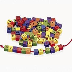 "(USA Warehouse) 104 Colorful Wood Alphabet Lacing Beads 6 Colors Blocks 7/8"" Blocks 36"" Laces **ITEM#NO: 43E8E-UFE6 C2A3027"