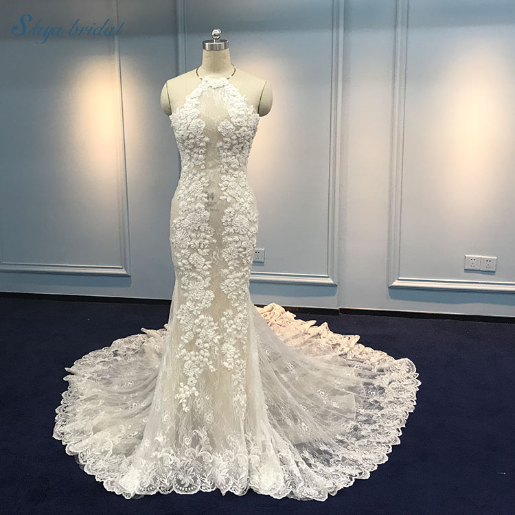 41c2b2508dd Sexy Transparent Tulle Lace Up Long Tail Mermaid Wedding Dress - Buy ...