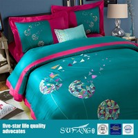 250TC New Design Embroidery Bedding Set For Hotel Home Custom Bedsheet