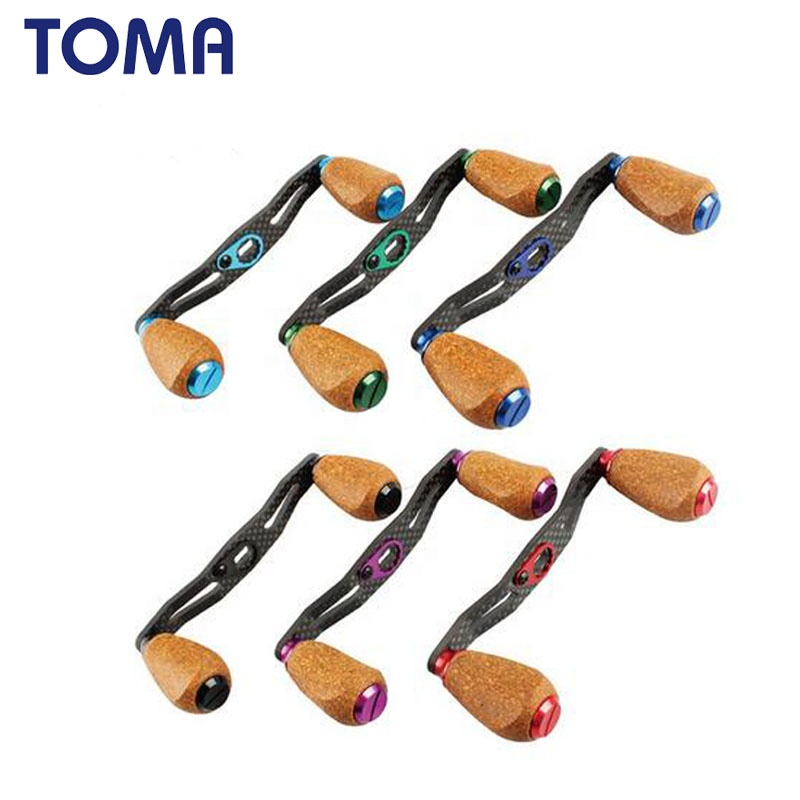 TOMA carbon fiber fishing reel handle for bait casting wheel lightweight DIY handle, Black;purple;green;red;blue;lake blue