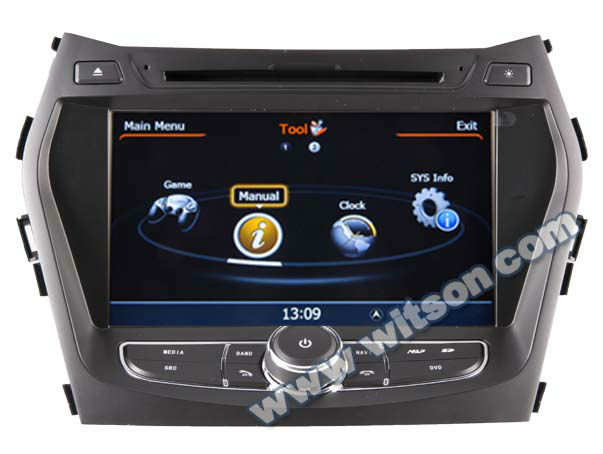 WITSON A8 Chipset HYUNDAI Santa Fe 2013 navigation system HD 1080P 1G CPU 512M RAM 3G/ wifi/DVR (Option)