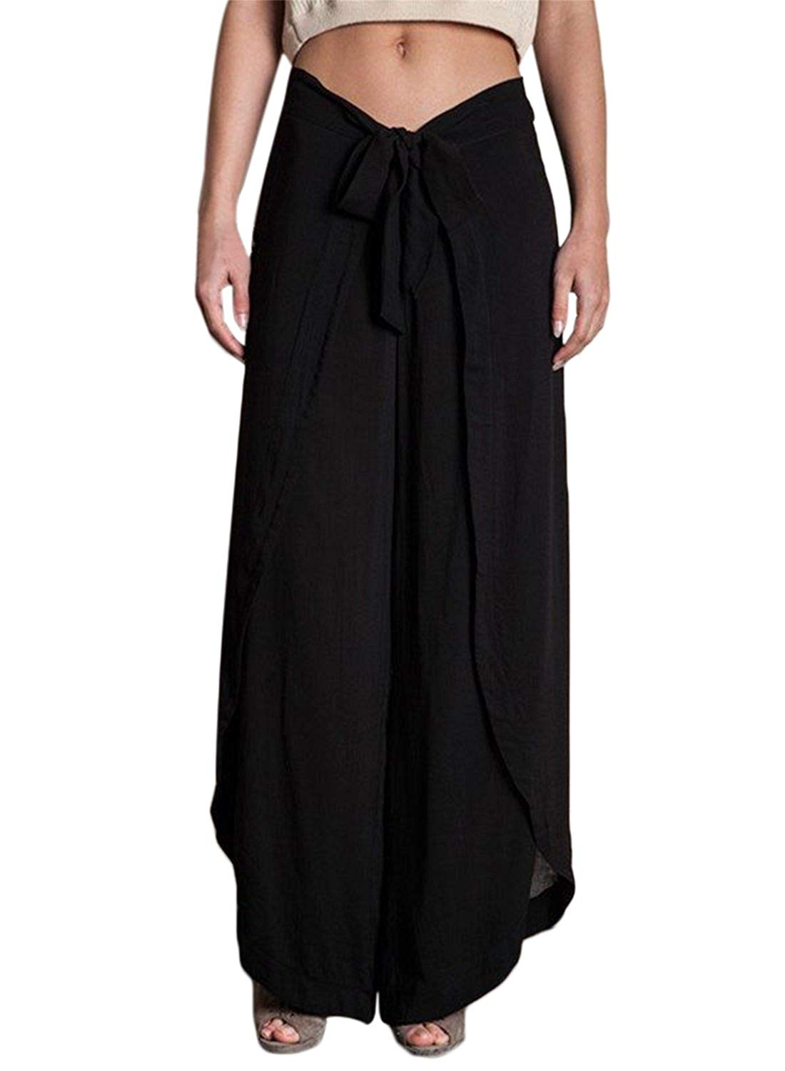 6b2c41fd22157 Get Quotations · HOTAPEI Women s Linen High Waisted Wide Leg Drawstring Palazzo  Pants