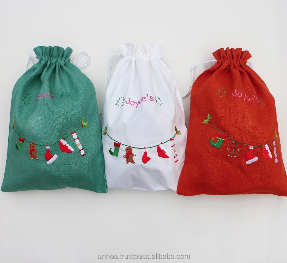 Christmas Drawstring Gift Bags Linen Laundry Bag Wine Snowflake Cellophane