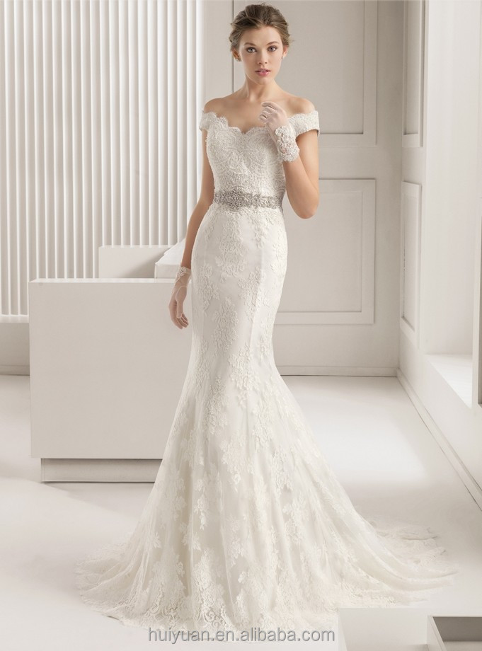 Shoulder Cut Wedding Dress