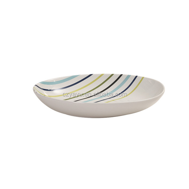 Stripes printing white decorative dinner plates  10.5\u0026quot; sky blue oval modern ceramic plate  sc 1 st  Alibaba & Buy Cheap China modern decorative plates Products Find China modern ...