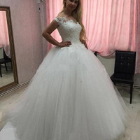 High Quality White Ball Gown Lace Appliques Custom Made Women Wedding Dresses in Turkey