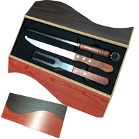 Promotional 3pcs wood handle kitchen carving knife set includes carving knife, fork and knife sharpner