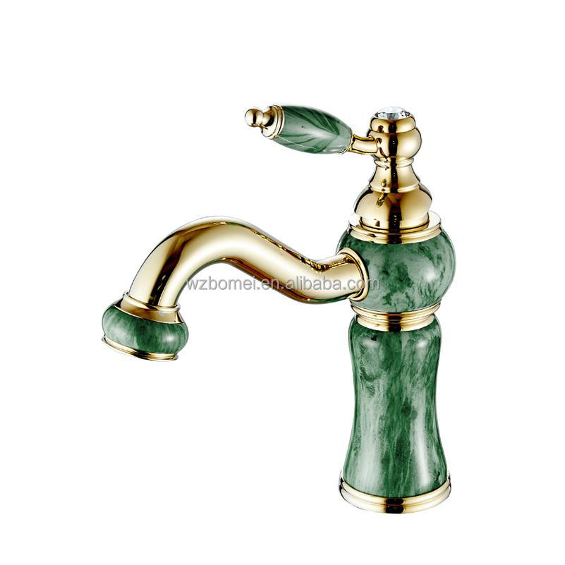 Unique Design Marble Stone Brass jade retro faucet gold basin taps crystal bathroom faucets