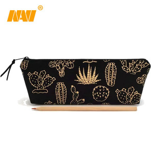 black canvas gold foil pencil Pouch, Custom pencil bag , Personalized pencil bag