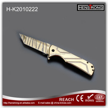 2017 hot sell Tanto blade with golden titanium coating folding pocket knife