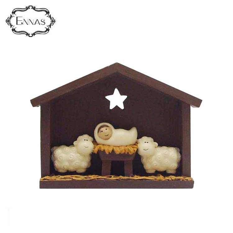 baby jesus and two sheep on the manger high-quality handicraft indoor sculpture display